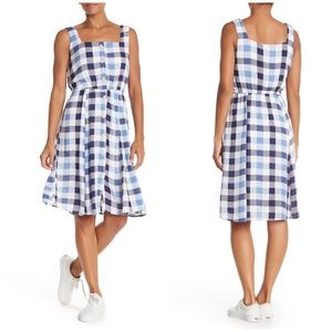 NWT Superfoxx | Checkered Blue Plaid Midi Dress.